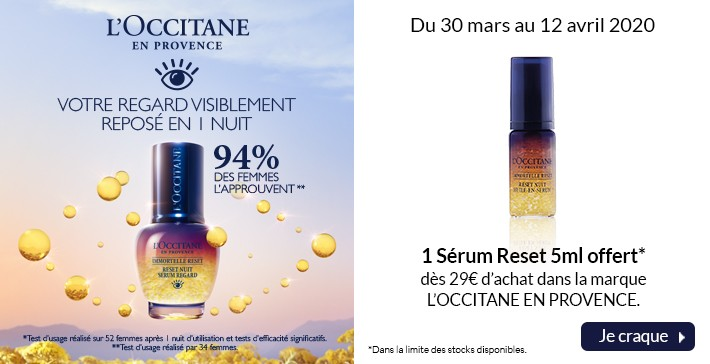 Le sérum Reset 5ml offert !