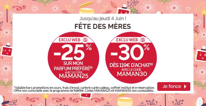 -25% sur votre parfum préféré et -30% dès 119€ d'achat !